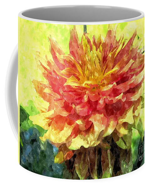 Dahlia Coffee Mug featuring the photograph Watercolor Of Dreamy Dahlia by Elizabeth Dow