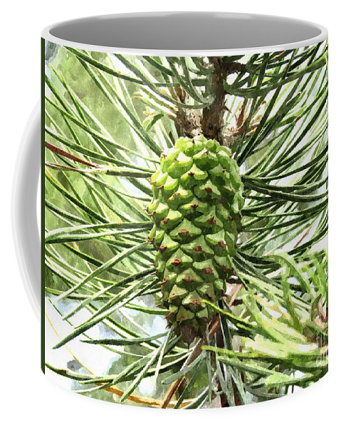 Pine Cone Coffee Mug featuring the photograph Watercolor Of Ripening Pine Cone by Elizabeth Dow