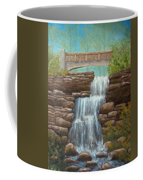 Pamela Allegretto Franz Coffee Mug featuring the painting Waterfall At East Hampton by Pamela Allegretto