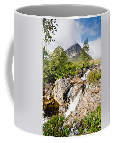 Buachaille Etive Mor Coffee Mug featuring the photograph Waterfall Below Stob Dearg by David Head