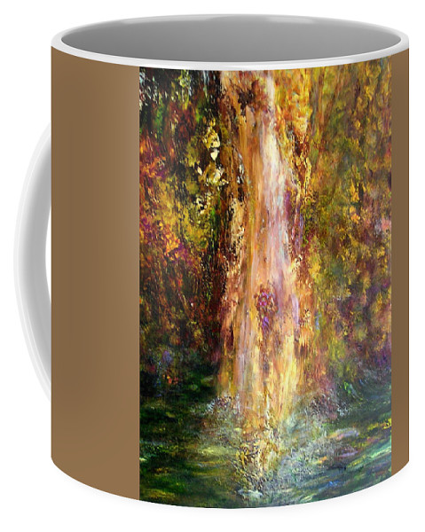 Landscape Coffee Mug featuring the painting Waterfall by Sylva Zalmanson