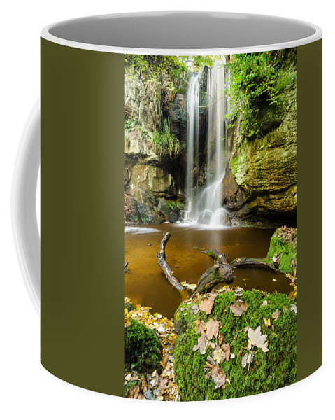 Northumberland Coffee Mug featuring the photograph Waterfall With Autumn Leaves by David Head