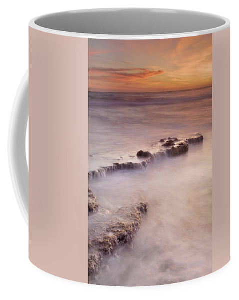 Sunset Coffee Mug featuring the photograph Waterfalls On The Rocks by Guido Montanes Castillo