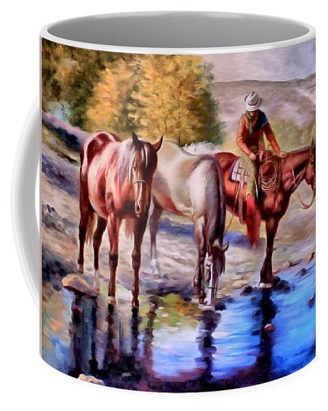 Western Coffee Mug featuring the painting Watering The Horses by Studio Artist