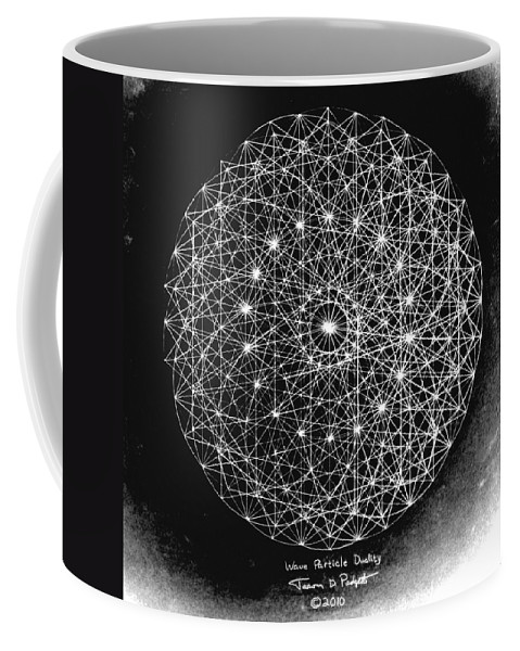 Jason Coffee Mug featuring the drawing Wave Particle Duality Black White by Jason Padgett