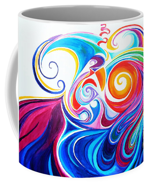 Spiraling Stylized Crayola Colored Rolling Waves Coffee Mug featuring the painting Wave Set by Expressionistart studio Priscilla Batzell