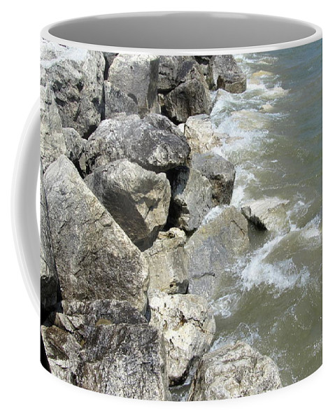 Mckinley Beach Coffee Mug featuring the photograph Waves And Rocks 6 by Anita Burgermeister