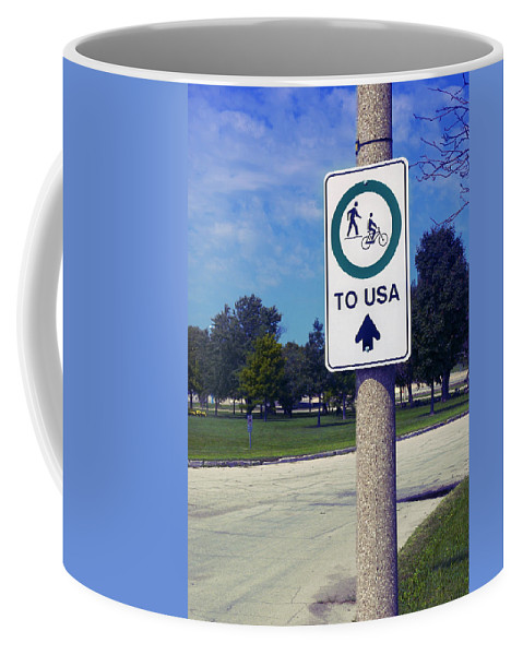 Sign Coffee Mug featuring the photograph Way To The Usa by Bob Pardue