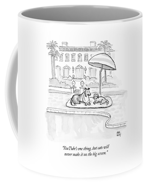 Dogs Coffee Mug featuring the drawing Wealthy Dogs Discuss Cats In Hollywood by Paul Noth