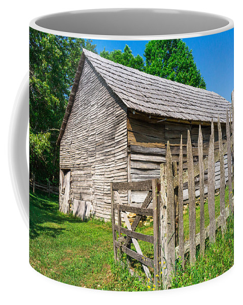 Cumberland Gap National Historical Park Coffee Mug featuring the photograph Weathered Old Country Barn by Mary Almond