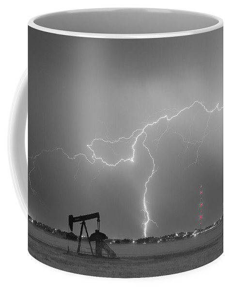 Lightning Coffee Mug featuring the photograph Weld County Dacono Oil Fields Lightning Thunderstorm BWSC by James BO Insogna