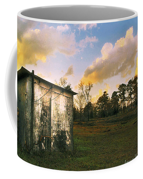 Clouds Coffee Mug featuring the digital art Old Well House And Golden Clouds by Pamela Smale Williams