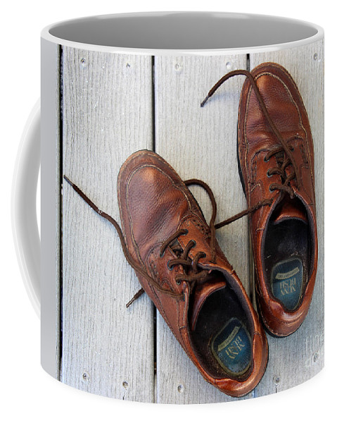 Shoes Coffee Mug featuring the photograph Well Worn by Karen Adams