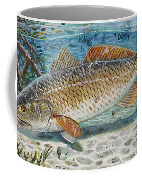 Redfish Coffee Mug featuring the painting West Coast Red by Carey Chen