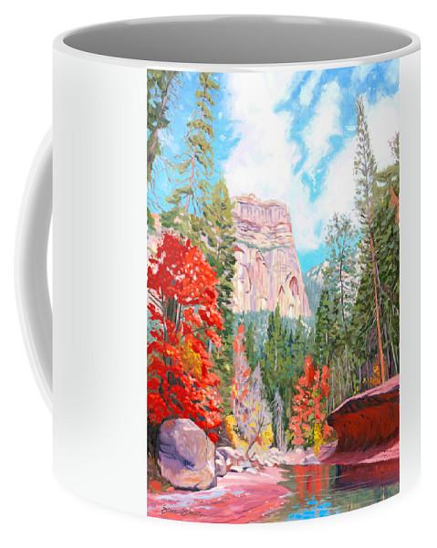 Sedona Coffee Mug featuring the painting West Fork - Sedona by Steve Simon