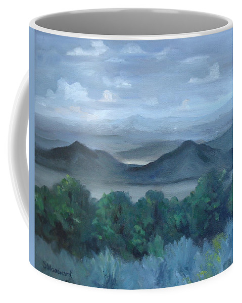 Mountain Ranges Coffee Mug featuring the painting West From Cristobal by Susan Woodward