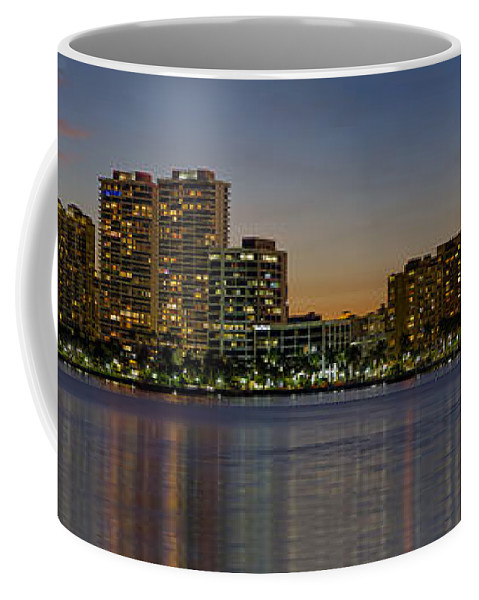 At Coffee Mug featuring the photograph West Palm Beach At Twilight by Debra and Dave Vanderlaan