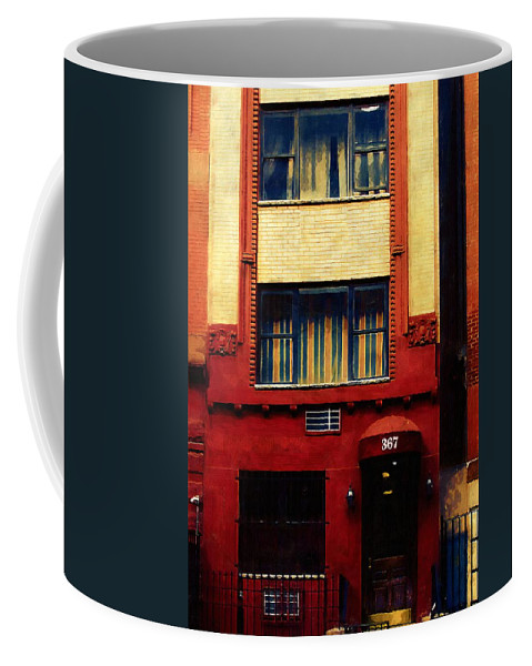Door Coffee Mug featuring the painting West Side Walk Up by RC DeWinter