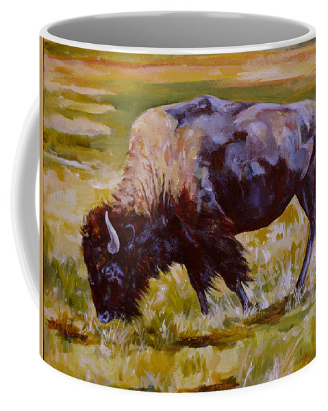 Bison Coffee Mug featuring the painting Western Icon by Derrick Higgins
