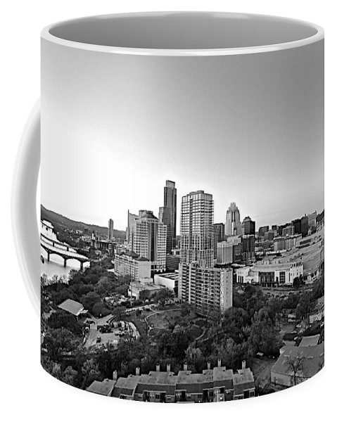 Black And White Austin Skyline Coffee Mug featuring the photograph Western View Of Austin Skyline by Kristina Deane