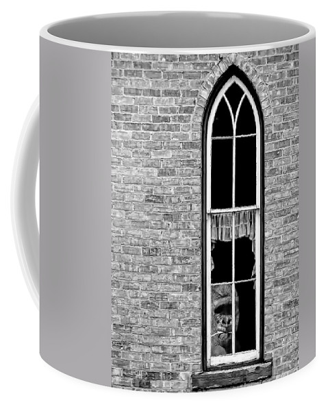 Gorilla Coffee Mug featuring the photograph What 800 Lbs Gorilla Bw by Steve Harrington