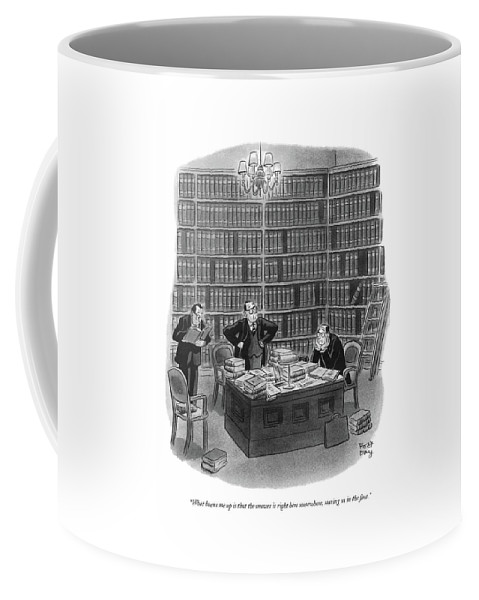 (three Men Looking Through Books In A Library.) Law Coffee Mug featuring the drawing What Burns Me Up Is That The Answer Is Right Here by Robert J. Day