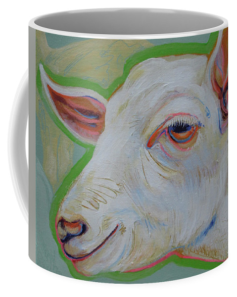 Goat Coffee Mug featuring the painting What Do You See? by Jeff Seaberg