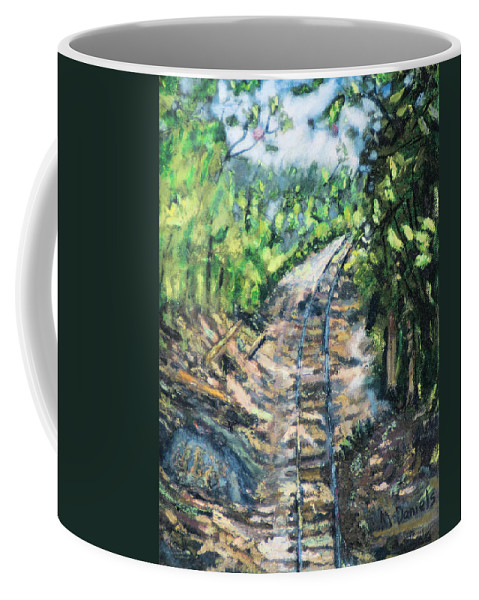 Tree Path Railroad Track Rock Forest Coffee Mug featuring the painting What's Around The Bend? by Michael Daniels