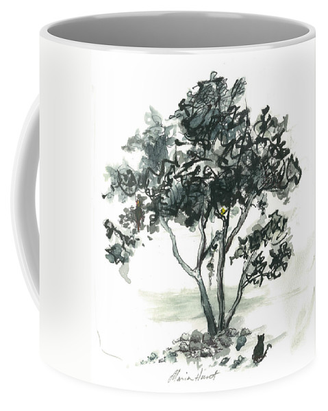 Tree Coffee Mug featuring the painting Studying The Menu by Maria Hunt