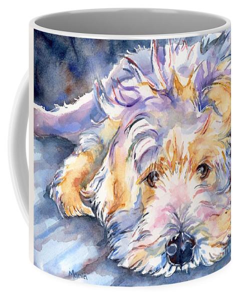 Wheaten Terrier Painting Coffee Mug featuring the painting Wheaten Terrier Painting by Maria Reichert