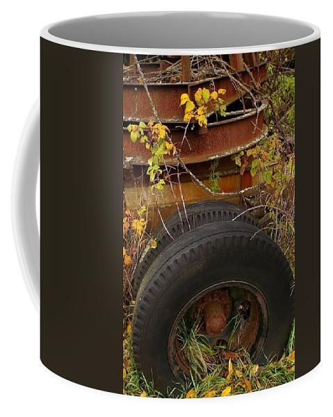 Tires Coffee Mug featuring the photograph Wheels Of Autumn by Randy Pollard