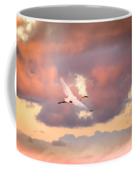 Egrets In Flight Coffee Mug featuring the photograph When Heaven Beckons by Karen Wiles