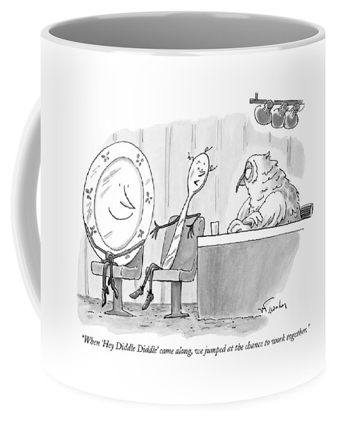 Dish And Spoon Coffee Mug featuring the drawing When 'hey Diddle Diddle' Came by Mike Twohy