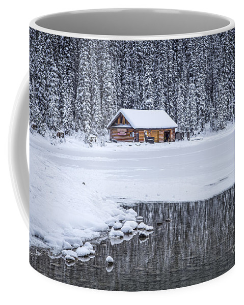 Lake Louise Coffee Mug featuring the photograph When It Snows Outside by Evelina Kremsdorf