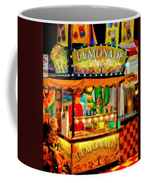 Lemon Aid Stand Coffee Mug featuring the painting When Life Gives You Lemons by Michael Pickett