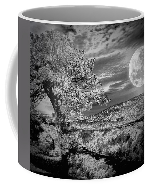 Black And White Coffee Mug featuring the photograph When The Moon Comes Over Da Mountain by Robert McCubbin