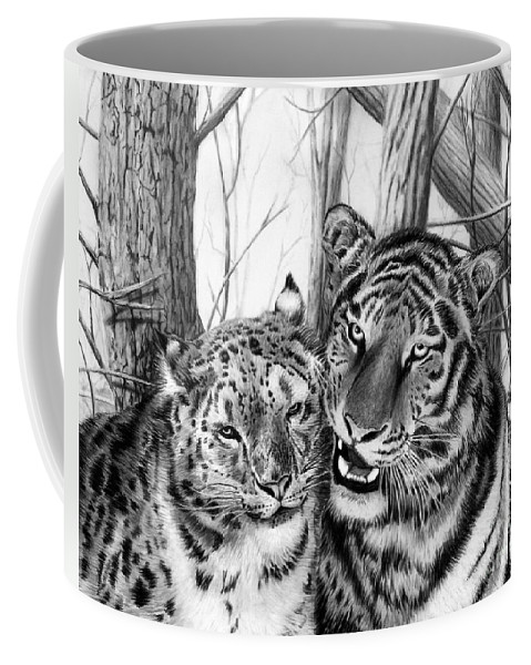 When Two Hearts Collide Coffee Mug featuring the drawing When Two Hearts Collide by Peter Piatt