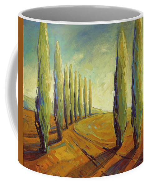 Cypress Coffee Mug featuring the painting Where Evening Begins 1 by Konnie Kim