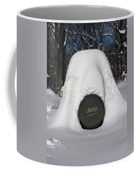 Snow Coffee Mug featuring the photograph Wheres The Jeep by Laura Corebello