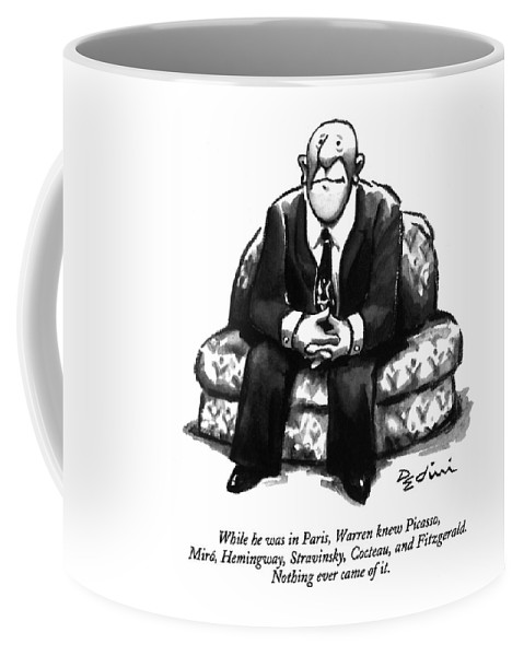 (a Rather Unhappy-looking Man Sits On A Sofa With His Hands Folded) Psychology Coffee Mug featuring the drawing While He Was In Paris by Eldon Dedini