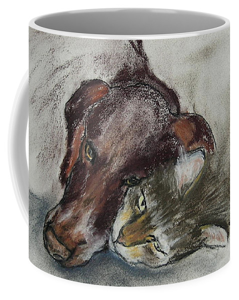 Dog Coffee Mug featuring the drawing Whisker To Whisker by Cori Solomon