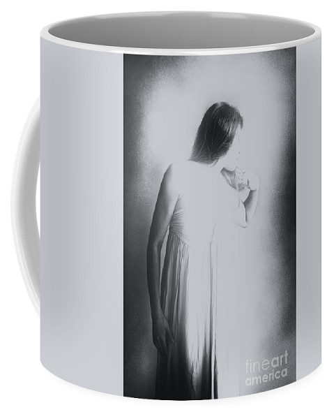 Caucasian; Woman; Lady; Female; Pretty; Beautiful; Brunette; Prim; Proper; Feminine; Grey; Gray; Black; White; Mulled; Out Of Focus; Blur; Blurred; Blurry; Looking Away; Long Hair; Faceless Coffee Mug featuring the photograph Whisper by Margie Hurwich