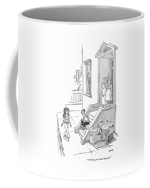 (old Woman To Man Who Sits On Brownstone Steps Coffee Mug featuring the drawing Whistle, You Dumb Bastard! by George Booth