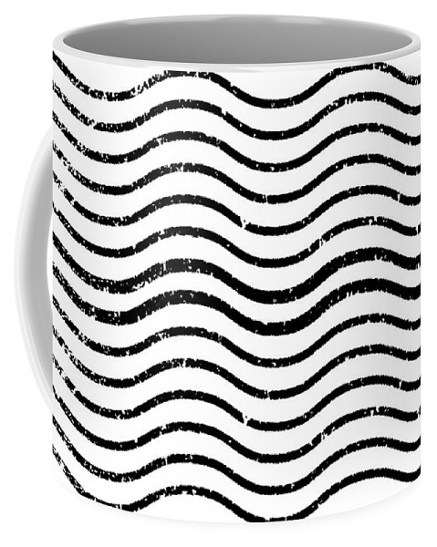 White And Black Postage Coffee Mug featuring the digital art White And Black Postage by Chastity Hoff