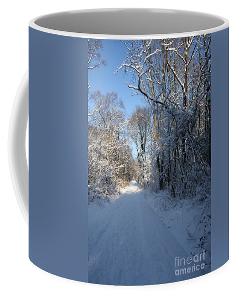 Winter Coffee Mug featuring the photograph White And Blue by Christiane Schulze Art And Photography