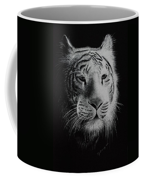 Greeting Cards Coffee Mug featuring the painting White Bengal Tiger by Joy Bradley
