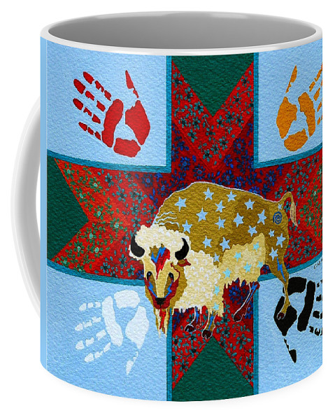 America Coffee Mug featuring the painting White Buffalo Calf Legend by Chholing Taha