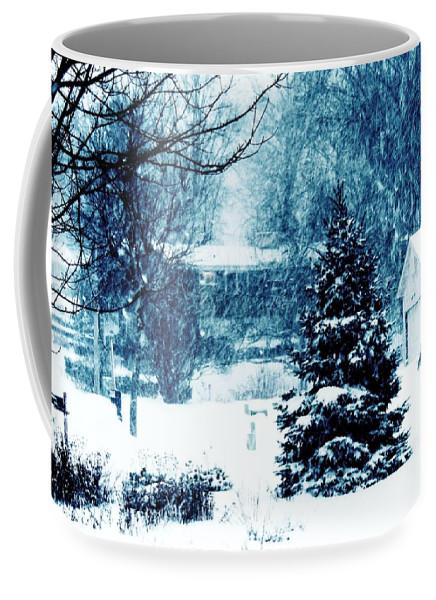 Snow Storm Coffee Mug featuring the photograph White Christmas by Karen Majkrzak
