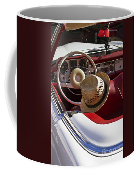 Mercedes Coffee Mug featuring the photograph White Classic Mercedes Benz 230 Sl by Heiko Koehrer-Wagner