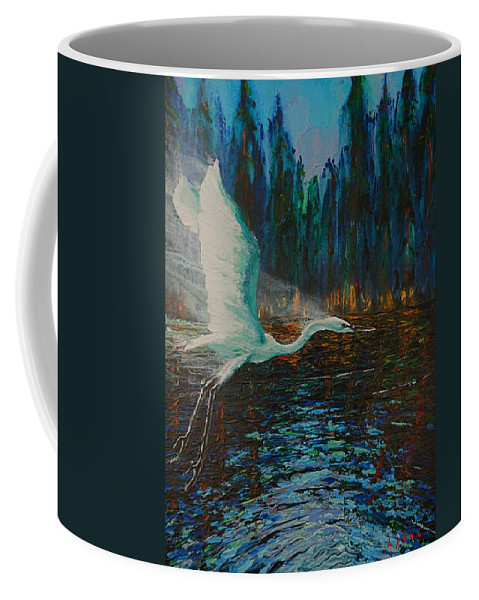 Wildlife Coffee Mug featuring the painting White Egret by Les Lyden